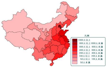 中国の人口密度分布